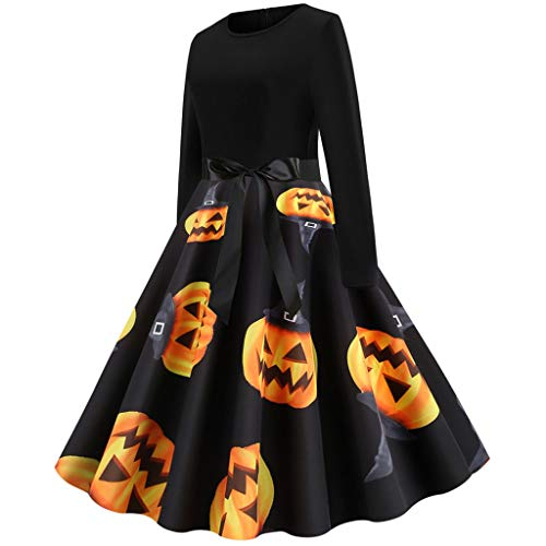 Lowest Prices! Women Vintage Long Sleeve Halloween 50s Housewife Evening Party Prom Dress Black