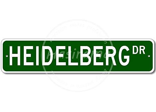 HEIDELBERG Street Blechschild Retro Blech Metall Schilder Poster Deko Vintage Kunst Türschilder Schild Warnung Hof Garten Cafe Toilette Club Geschenk