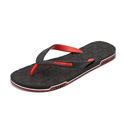 kengbi Zapatillas de Verano para Mujer de Verano Chancletas de Goma de Las Mujeres y de los Hombres Chancleta de la Playa de la Sandalia de la Correa (Color : Red, Size : 42 EU)