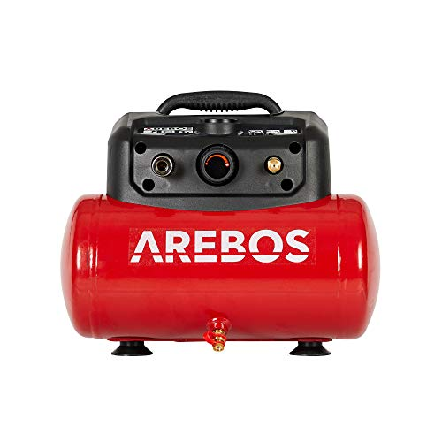 AREBOS Druckluft Kompressor Luftkompressor 1200W | 6L | 8 bar | inkl. 13-tlg. Zubehör | Wartungsarm | Abschaltautomatik | Extra langer Luftschlauch