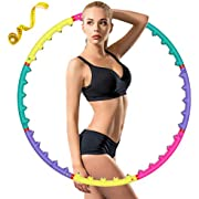 CAVEEN Hoola Hoop for Adults, Weight Loss, 8 Section Adjustable Design, with Air Cushions Built-in Magnetic Balls, Soft Fitness Exercise Circles-2lb