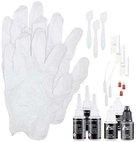 AGT Klebstoff: Reparatur-Set aus Sekundenkleber & Granulat (schwarz/weiß/transparent) (Granulat-Kleber)