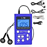 BTECH MPR-AF1 AM FM Personal Radio with Two Types of Stereo Headphones, Clock