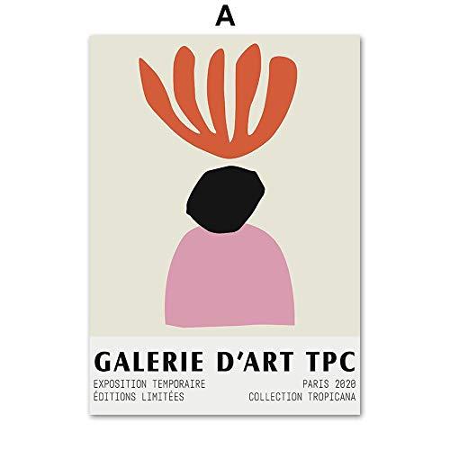 HJGB Pintura artística clásica Matisse abstracta para pared con diseño de chica y hombre nórdico, póster e impresiones para decoración de sala de estar, pintura en lienzo, 20 x 30 cm