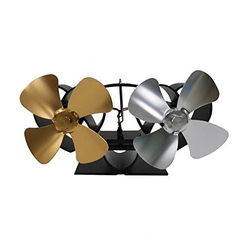 youngfate Kaminventilator Ohne Strom Eco Thermoelektrisch Doppelt Ventilator Ofenventilator Für Holz 8-flügeliger Heizofenventilator Für Den Großen Raum des Kaminholzbrenners