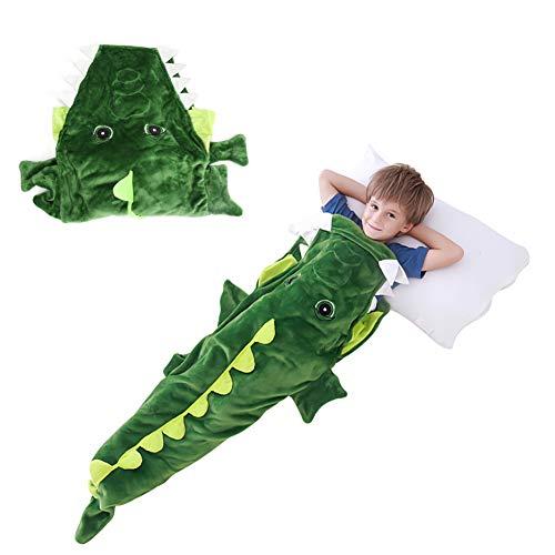 Welltop Krokodil Decke für Kinder, Warm Tail Blanket, Weich Schlafsack Kinder für 3-10 Jahre Alt, Maschine & Handwaschbar Kinderschlafsack Decke, 155 x 50 cm (61,0 '' x 19,7 '')