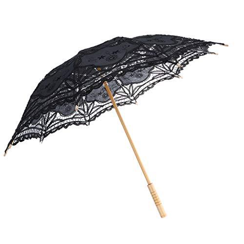Baoblaze Femme Ombrelle Fait à la Main en Dentelle Noire Parasol Floral Poignée en Bambou Décoratif Accessoires pour Danse Mariage - Diamètre 82 cm
