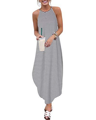 CNFIO Sommerkleid Damen Elegant Kleider V-Ausschnitt Ärmellos Streifen Shirtkleider Design Kurz Blusenkleid Maxikleid Strand Kleider