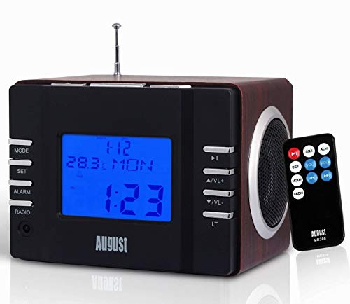 Radio Despertador–August MB300 - MP3Player/Equipo estéreo–Radio Reloj (Negro)
