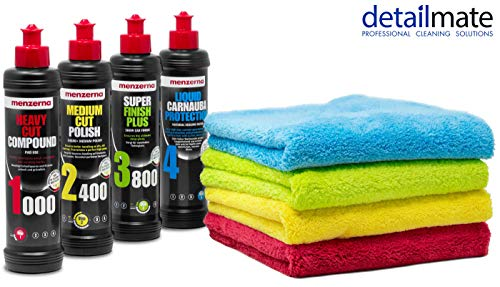 detailmate - Menzerna Autopolitur : Super Heavy Cut Compund HC1000 + Medium Cut 2400 + Super Finish Plus SFP3800 + Liquid Carnauba Protection - 250ml + 4 Flauschige Poliertücher rot, gelb, grün, blau