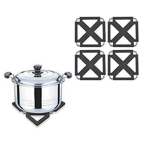 Shenlu Soporte para ollas Plegable ajustable para platos calientes Trivet Silicona Metal Resistente al calor Antideslizante Esteras de cocina Esteras para platos Hot Pads, Negro, juego de 4