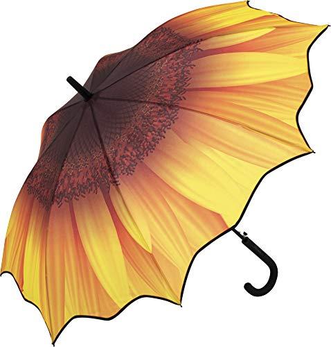 FARE Automatik Stockschirm - Motiv-Druck - vollflächig bedruckter Marken-Regenschirm öffnet-automatisch - Flexible Fiberglasschienen - windsicher stabil wasserdicht (Sonnenblume)
