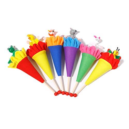 Yooyg Juguete telescópico de madera de 6 piezas, con forma de marionetas de cono emergente, teatro de felpa de mano, divertido dibujos animados para niños, educación de niños recién nacidos
