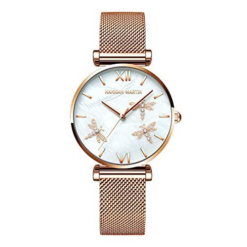Dragonfly - Reloj de pulsera de acero inoxidable con banda de cuero y oro negro para mujer