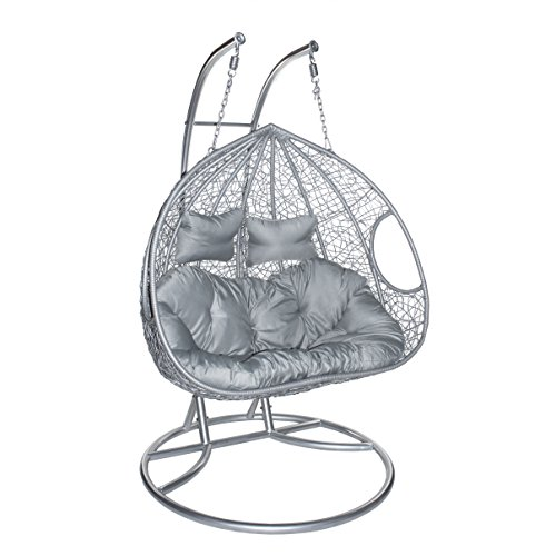 ESTEXO® Hängesessel mit Gestell für Zwei Personen, Polyrattan Hängekorb, Zweisitzer (Grau/Silber)