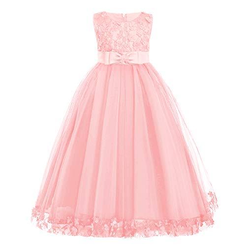 IBAKOM Vestido de noche para niña con flores y encaje, sin mangas, formal, para boda, dama de honor, cumpleaños, fiesta, vestido largo de baile Rosa. 3-4 Años