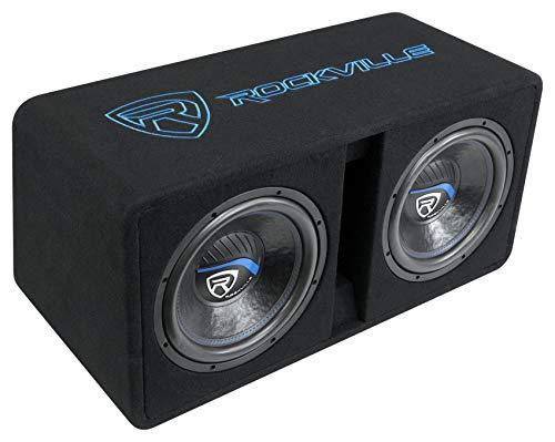 """Rockville DV12K52 Dual 12"""" K5 2800w Car Subwoofers+Vented Sub Enclosure Box/2Ohm"""