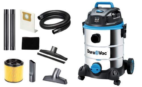 Dura Vac CVQ810SWD Cleaner 30-Litre 8-Gallon 4 HP Stainless Steel Wet Dry Vaccum Cleaner, Stainless Steel