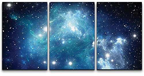 wall26 3 Piece Canvas Wall Art - Shades of Blue Glaxy in a Sea of Stars - Modern Home Art Stretched and Framed Ready to Hang - 24'x36'x3 Panels