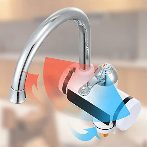 laiyin Elektrischer Wasserhahn, Sanitärwerkzeuge, 220 V Sofortheizung Schnellheizung Warmwasserbereiter, Heizungshahn mit Digitalanzeige für Küche Badezimmer (europäischer Standard)