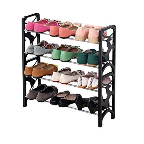 Yyqx Zapatero con 4 estantes, apilable de 4 niveles, 12 pares de marco de plástico para almacenamiento de zapatos, estante organizador para sala de estar, dormitorio, zapatero negro