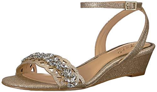 Jewel Badgley Mischka Women's KINDLE Sandal, gold glitter, 7.5 M US