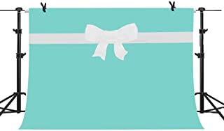 MME 10X7ft Breakfast Bowknot Co Blue Backdrop Sweet 16 Birthday Party Background Bridal Shower Wedding Dessert Cake Table Decorations Photo Booth Banner LXME998