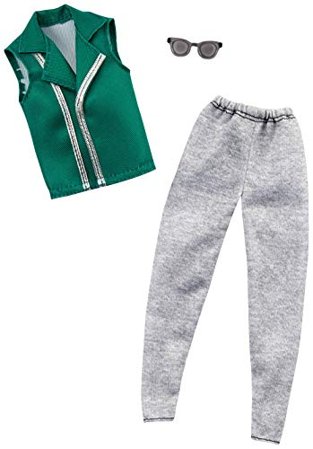 Barbie Clothes: 1 Outfit for Ken Doll Includes Green Vest, Gray Joggers and Sunglasses, Gift for 3 to 8 Year Olds  -  Mattel, GHX49