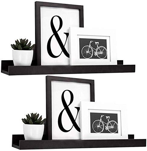 GEEZY Set of 2 Floating Wall Shelves Picture Ledge Display Racks Book Hanging Shelf (Black, 45 x 10 x 5 cm)
