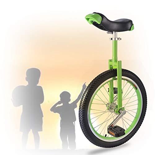 16/18/20 Zoll Einrad, Konturierter Ergonomischer Sattel Bequem Und Einfach Zu Handhaben Für Anfänger Kinder Erwachsene Übung Spaß Fahrrad Fahrrad Fitness (Color : Green, Size : 20 inch)