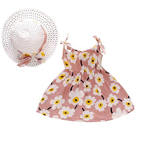 JERFER Kleinkind Baby Mädchen Ärmellos Blumen Gedruckt Kleid Kleidung + Stroh Hüte Kappen C82
