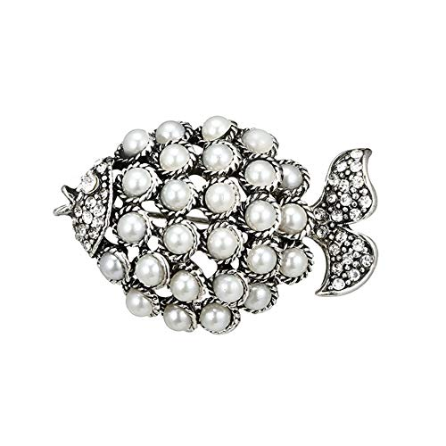 Miss charm l'europe Et Les États-Unis De Nouveaux Accessoires Fashion Perle Forme Géométrique Simple Poisson Rouge Broche Diamant Boucle Écharpe De Soie Animale C