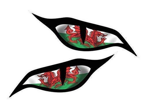 CT Design Pair Of Evil Eyes Eye Stickers With Welsh Dragon Wales CYMRU Flag Motif Vinyl Car Motorbike Helmet Sticker Decal each 70x30mm