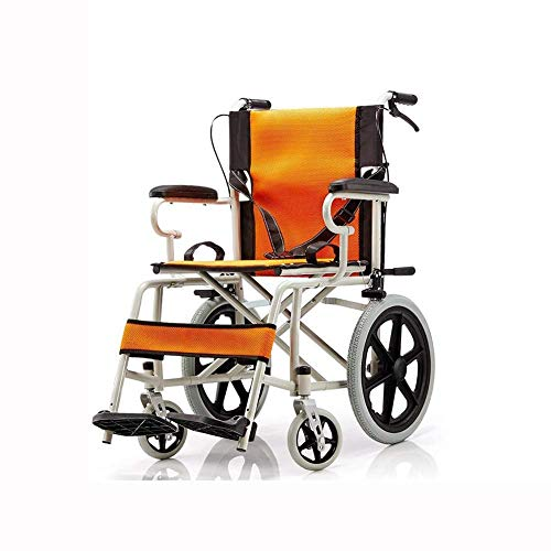 ZHICHUAN Wheelchair Folding Boarding Available Lightweight Solid Tire Safety Brake Transport Portable Aluminum Alloy Travel Stable Heavy/Orange