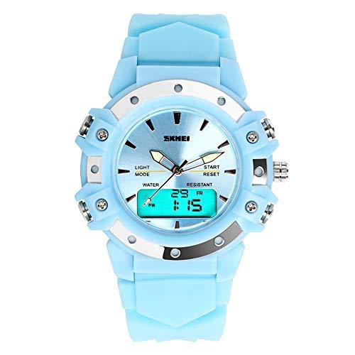 FeiWen Deportivos Digitales Multifuncional Reloj de Mujer y Niña Fashion Casual LED Cuarzo Analógico Doble Tiempo Outdoor Azul Plástico Relojes de Pulsera 50M Impermeables