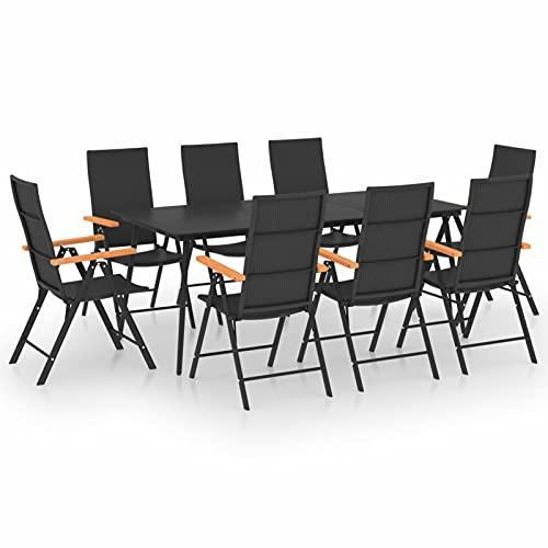 Tidyard Conjunto de Comedor de Jardín de 9 Piezas Muebles Mobiliario Exterior Terraza Jardín Balcón Salón Hogar Cocina Mesa y Plegables Silla Asiento Suave Cómodo Negro y Marrón