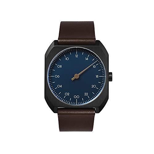 slow mo 16 - Brown Leather, Anthracite Case, Light Blue Dial