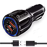 Ultra Fast Dualport Car Charger For alcatel Flash (2017) Original QC Car Charger Adapter | C Type Wall Charger,car charger extension converter to plug socket, car charger adapter socket | High Speed Rapid Fast Turbo QC 3.0 Car Charger , Fire Resistant, Lightweight, & Compact Car Charger for All Mobiles like Android & Tablets , Car Mobile Charger With C USB Charging Cable (3.1 Ampere)
