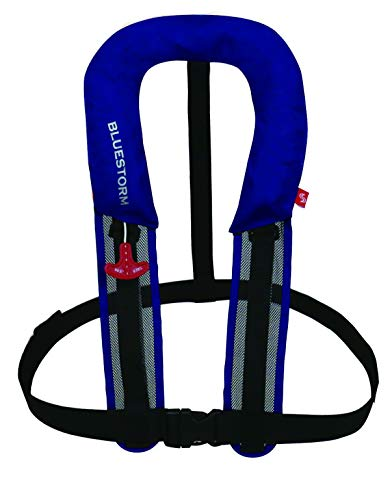 Bluestorm BSJ-8320RS Life Device for Small Marines, Type A, Ministry of Land, Infrastructure, Transport and Tourism Approved, Sakura Mark, Automatic Inflatable Life Jacket, Water Detection Function, Suspender Type, Uses Rail System, Compact Model, Blue