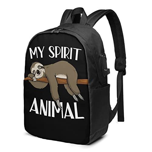 My Sprirt Animal Sloth Zaino da viaggio per laptop con porta USB di ricarica per uomini e donne da 17', Nero , Taglia unica,