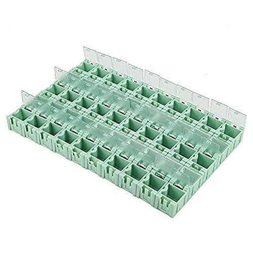 Caja de componentes electrónicos de plástico Mini contenedor de herramientas con hebilla autoblocante 50 rejillas para tornillos Tuercas Herramienta Clasificación Multi Herramienta