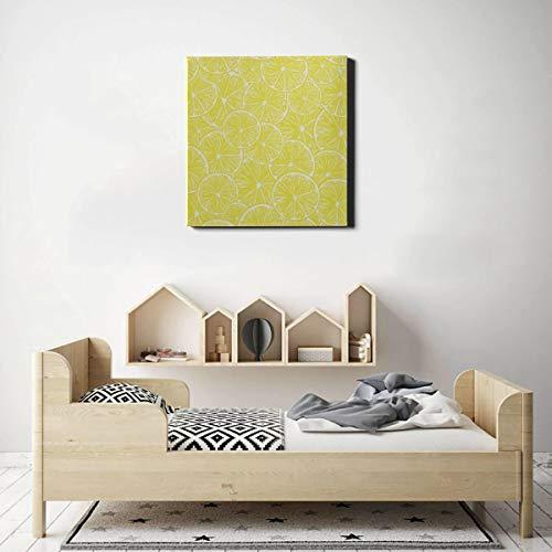 AQQA Wandfarbe Leinwand Aquarell Zitronen und Limetten Wandkunst Büro Dekor Druck Wandkunst 20 x 20 Zoll (50x50cm) Wandkunstwerke Bilder für Wohnzimmer Schlafzimmer Dekoration
