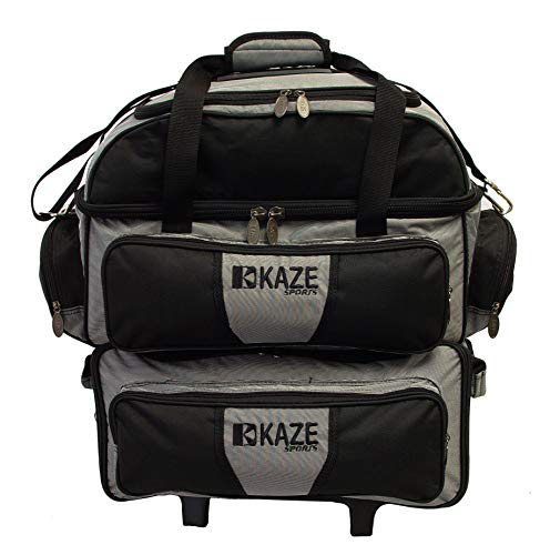 KAZE SPORTS 4 Ball Double Deck Bowling Roller, Black-Gray