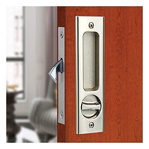 "LWZH 6.3"" Sliding Barn Door Mortise Latch Lock Invisible Recessed Handle Latch with 3 Keys Interior Wood Pocket Door Lock Furniture Hardware(Silver)"