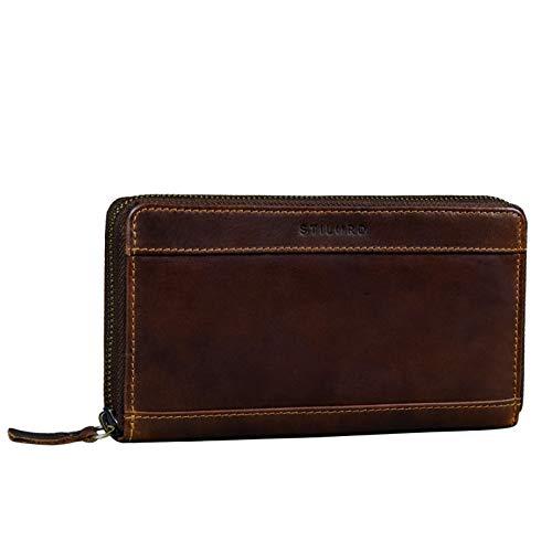 STILORD 'Lynn' Portafoglio RFID Donna in Pelle Vintage Leather Purse per Donne Borsette di Protezione NFC con Cerniera in Vera Pelle in Scatola Regalo, Colore:torres - marrone