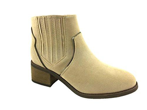 Even Odds Damen Fashion Cowboystiefel, Kunstwildleder, Blockabsatz, Reißverschluss innen, Größe 36-42, Braun - sand - Größe: 38 EU