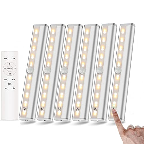 LANBOJINDI Under Cabinet Lighting 6 Pack with Remote | 20-LED Dimmable Battery Operated Lights | Under-Counter Light fixtures | Stick on Touch Light for Display Cabinet Kitchen Bedroom, 2 Colors