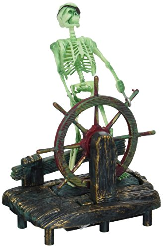 Penn-Plax Aerating Action Ornament, Skeleton at The Wheel