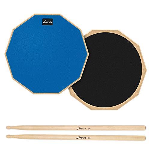 Donner Drum Practice Pad Übungspad 12 Zoll mit Drumsticks, Blau