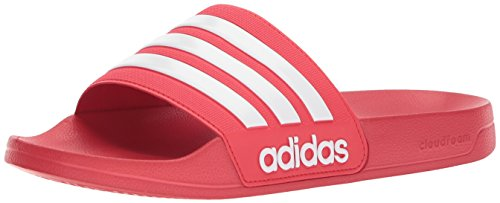 adidas Men's Adilette Shower Slide Sandal, White/Scarlet, 13 M US